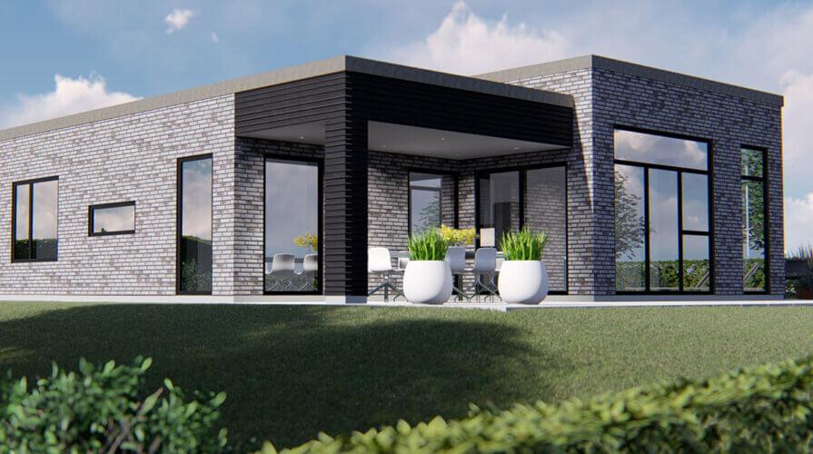 150 m2 square hus
